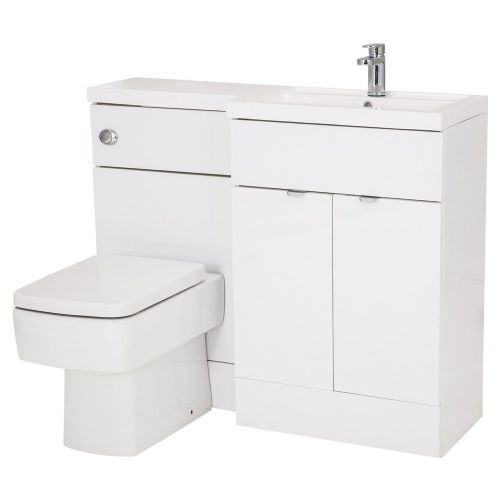 Elite White Gloss 1100mm Combination Furniture Pack - Right Hand